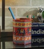 Rajrang Multicolour Cardboard & Handmade Paper Elephant Printed Pen Holder
