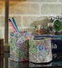 Rajrang Multicolour Cardboard & Handmade Paper Stamp Printed Pen Holder