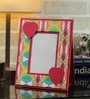 Rajrang Red & Green Handmade Paper Floral Printed Photo Frame