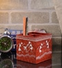Rajrang Rust & White Wood & MDF Tribal Hand Painted Pen Holder