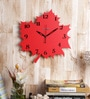 Red Wooden Autumn Leaves Set Wall Clock by Random