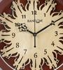 Random Walnut Wood & MDF 11 Inch Round Curvy Radha Krishna Sleek Wall Clock