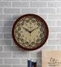 Random Walnut Wood & MDF 14 Inch Round Curvy Blossom Wall Clock