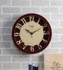 Random Walnut Wood & MDF 14 Inch Round Curvy Numerals Wall Clock