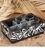 Rang Rage Abstract Patterns Mango Wood Tray with Shot Glasses