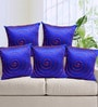 Rang Rage Blue Poly Silk 16 x 16 Inch Cushion Cover - Set of 5