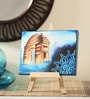 Canvas 8 x 1 x 6 Inch Funky Delhi's Pride Stretched Framed Painting with Easel Stand by Rang Rage