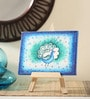 Canvas 8 x 1 x 6 Inch Funky Peacock Pallette Stretched Framed Painting with Easel Stand by Rang Rage
