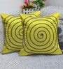 Rang Rage Lime Poly Silk 16 x 16 Inch Handcrafted Circle Cushion Covers - Set of 2