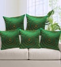 Rang Rage Green Poly Silk 16 x 16 Inch Handcrafted Circle Cushion Covers - Set of 5