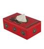 Rang Rage Red Wooden Regal Celebration Tissue Box Holder