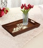 Rang Rage Handpainted Large Classic Motif Natural Brown Wood Tray