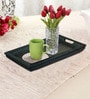 Rang Rage Handpainted Large Curved Grey Wood Tray