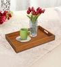 Rang Rage Handpainted Medium Vintage Brown Wood Tray