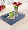 Rang Rage Handpainted Turquoise Wood Rectangular Tray