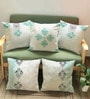 Rang Rage Olive Cotton 16 x 16 Inch Hand-Painted Elegance Cushion Covers - Set of 5