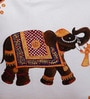 Rangrage Multicolour Cotton 16 x 16 Inch Hand Painted Miniature Elephant Cushion Cover