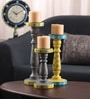 Rang Rage Multicolour Mango Wood Classic Aztec Hand Painted Candle Holder - Set of 3