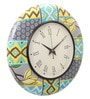 Rang Rage Multicolour MDF 16 Inch Classic Floral Ikat Hand Painted Round Wall Clock