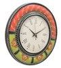 Rang Rage Multicolour MDF 16 Inch Classic Mughal Hand Painted Round Wall Clock