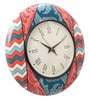 Multicolour MDF 16 Inch Coral Charm Hand Painted Round Wall Clock by Rang Rage