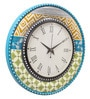Multicolour MDF 16 Inch Spring Floral Ikat Hand Painted Round Wall Clock by Rang Rage