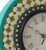 Multicolour MDF 9 Inch Classic Green Hand Painted Round Wall Clock by Rang Rage