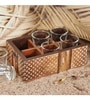 Rang Rage Textured Classics Serving 120 ML Tea Glasses with Multicolour Wooden Tray - Set of 6