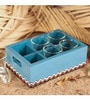 Rang Rage Vintage Serving 120 ML Tea Glasses with Multicolour Wooden Tray - Set of 6