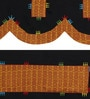 Rangdesi Black Cotton Handcrafted Bagh Patch Sofa Cover - Set of 6