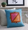 Blue Cotton 16 x 16 Inch Handcrafted Cushion Cover by RangDesi