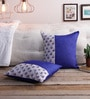 Blue Silk 16 x 16 Inch Bagh Patch Cushion Covers - Set of 2 by RangDesi