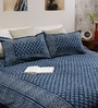 RangDesi Blue Cotton Ethnic 108 x 91 Inch Double Bed Sheet (with Pillow Covers)