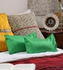 Green Silk 14 x 7 Inch Solid Cushion Covers - Set of 2 by RangDesi