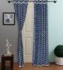 RangDesi Indigo Cotton 108 x 48 Inch Snowflake Design Organic Dye Door Curtain - Set of 2