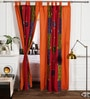 Rangdesi Multicolour Cotton 84 x 48 Inch Handcrafted & Hand Embroidered Bagh Patch Curtain - Set of 2