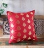 Pink Brocade 16 x 16 Inch Double Sided Cushion Cover by RangDesi