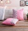Pink Silk 16 x 16 Inch Bagh Patch Cushion Covers - Set of 2 by RangDesi