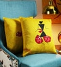 Yellow Art Silk 16 x 16 Inch Handpainted Worli Cushion Cover - Set of 2 by RangDesi
