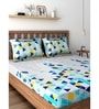 Blue 100% Cotton Queen Size Bedsheet - Set of 3 by Raymond Home