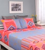 Blue Cotton Queen Silverleaf Bed Sheet with 2 Pillow Covers by Raymond Home
