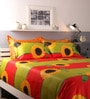 Raymond Home Green and Red Cotton King Size Bed sheet - Set of 5