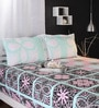 Raymond Home Greens Geometric Patterns Cotton Queen Size Bed Sheets - Set of 3