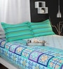 Green Cotton Queen Size Bed Sheet - Set of 3 by Raymond Home