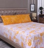 White & Yellow 100% Cotton King Size Bed Sheet - Set of 3 by Raymond Home