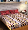 Raymond Home Orange Cotton Queen Size Bedsheet - Set of 3