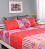 Orange Cotton Queen Silverleaf Bed Sheet with 2 Pillow Covers by Raymond Home