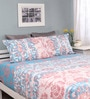 Raymond Home Pink & Blue Cotton Queen Silverleaf Bed sheet with 2 Pillow Covers