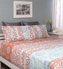 Raymond Home Orange & Green Cotton Queen Silverleaf Bed sheet with 2 Pillow Covers
