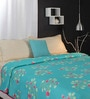 Turquoise Nature & Florals Cotton Queen Size Dohar by Raymond Home